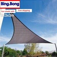 EE. UU. Envío Gratis sol sombra navegar HDPE triángulos toldo al aire libre sombreado neto 3*3*3 m patio gazebo dosel piscina toldo de jardín