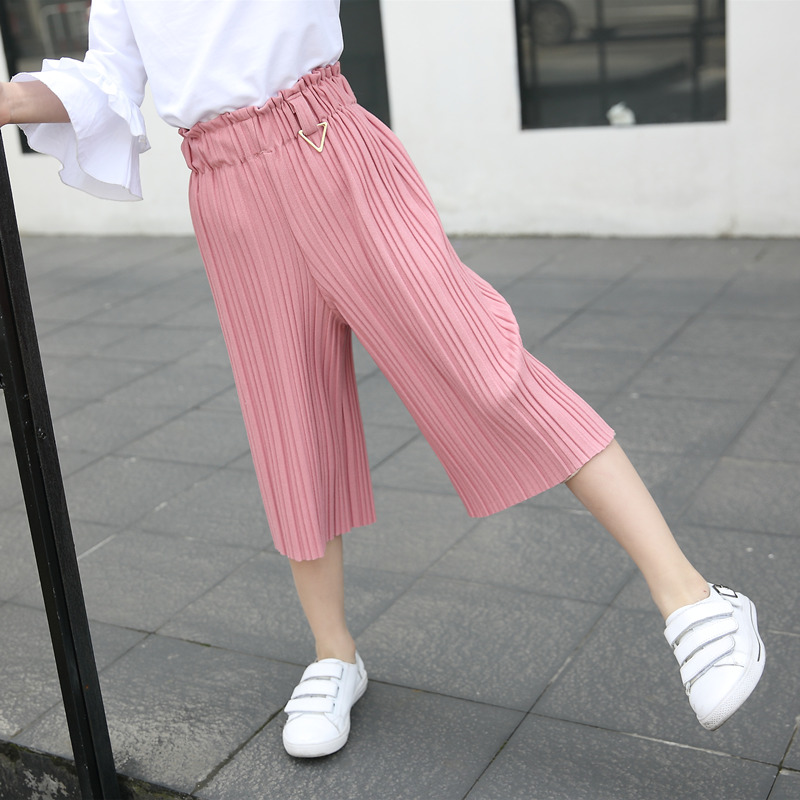 Children Girls Wide Leg Pants Fashion 2018 Summer Fall Kids Girls Capri Pants Pink Black Hem Loose Pants Girls Cotton Trousers solid rolled hem pants