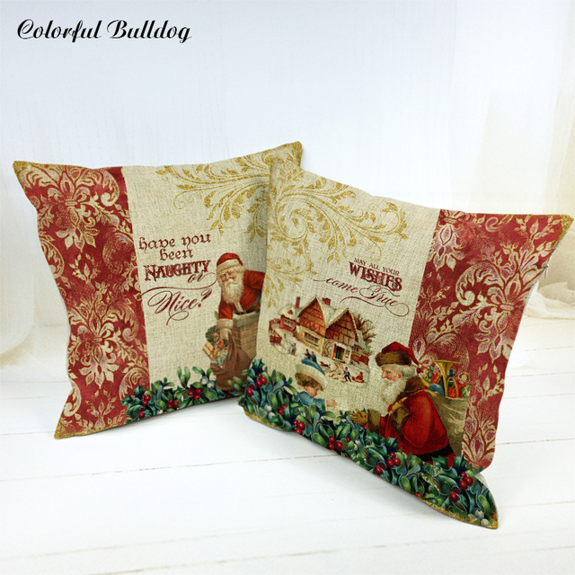 Stylish Decorative Pillows For Sofa Cute Santa Claus Stove Snowman Reindeer  Office 17X17 Houseware Decor Christian