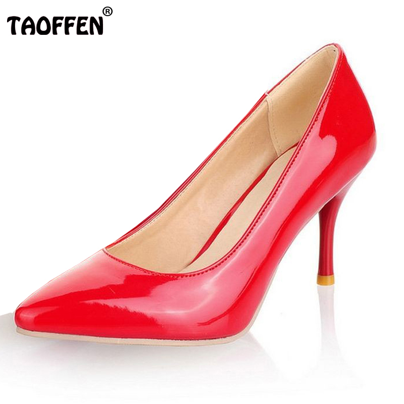 TAOFFEN size 30-47 women high heel shoes office ladies women shallow party sexy pumps fashion footwear heels shoes P23518 taoffen women high heel shoes woman sexy transparent heels sandals ladies ankle strap party wedding shoes footwear size 31 47