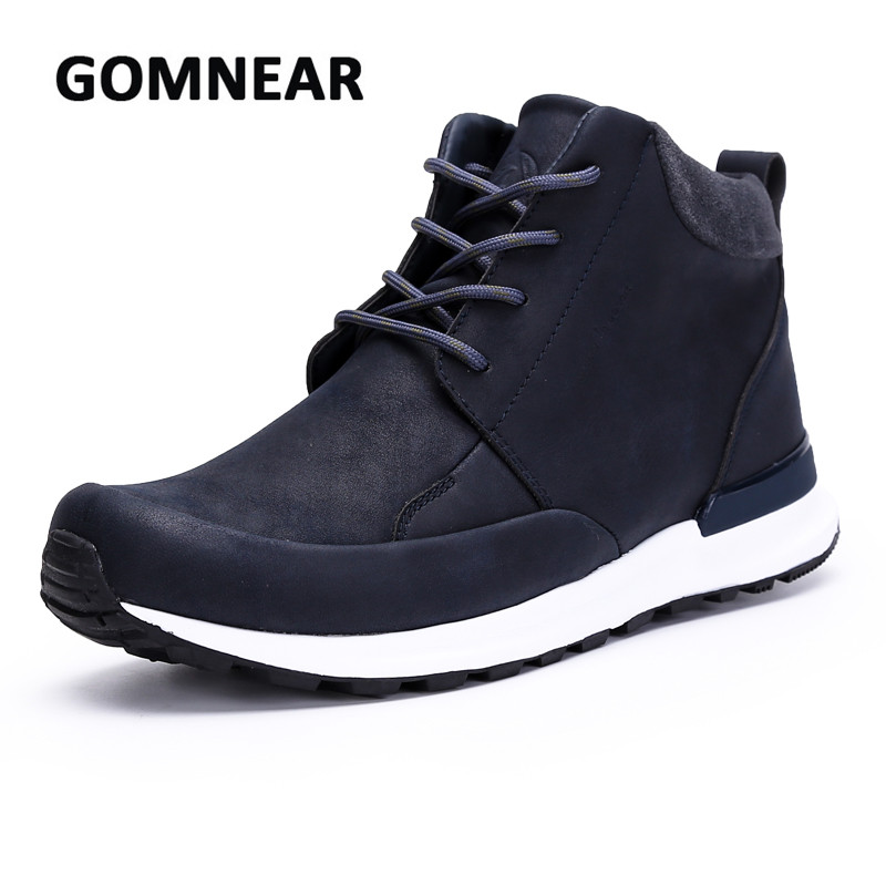 GOMNEAR Genuine Leather Waterproof Hiking Shoes Anti-slip Damping Outdoor Camping Climbing Athletic Summer Hiking Chassures winter men s outdoor cotton warm sports hiking shoes sneakes men anti slip climbing athletic shoes camping chaussures trekking