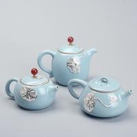 Ru kiln teapot inlaid silver tea pot Xishi pot creative kung fu tea pot personality ceramic gift