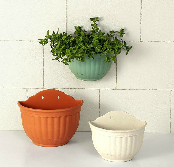 Pocketgarden Plain Color Round Plastic Hanging Planter