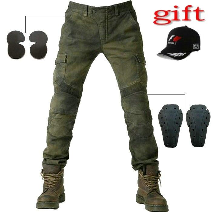 Новый 2016 MOTORPOOL UBS06 армия зеленый брюки джинсы для езды на мото джинсы досуг свободного версию с защитное снаряжение