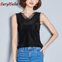 Tank Tops For Women Velvet Solid Black V Neck Pullover Camis Lace Stripe Sleeveless Casual Vest