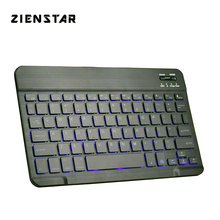 Zienstar Slim Rechargeable Wireless Bluetooth KEYBOARD with7 Colors LED BackLight for IPAD/Iphone/Mac/LAPTOP/DESKTOP PC/TABLET zienstar russian bluetooth wireless keyboard for ipad macbook laptop tv box computer pc and tablet silver white color