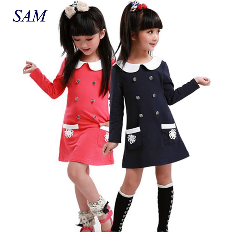 Baby Girls Dress 2018 College Spring Autumn New Style Double Lapel Long Sleeve Pocket Cotton Dress hot 10pcs lot er16 1 10mm spring collet set for cnc milling machine engraving lathe tool vec57 t30