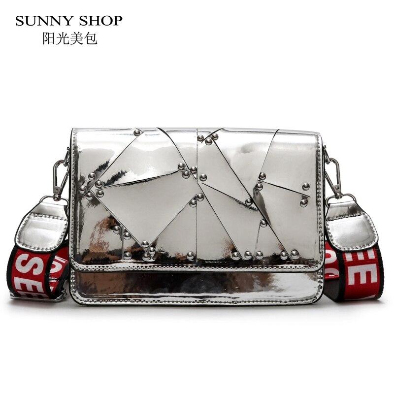 SUNNY SHOP 2018 Summer Beach Bags Women Mirror Shinny Mini Messenger Bags Ladies Female Silver Black Fashion Designer Sling Bag
