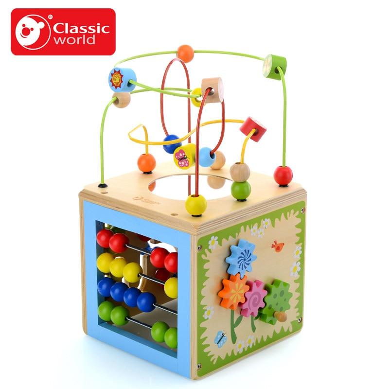 Classique monde en bois printemps terre multi-activité Cube jouet coloré perle labyrinthe enfant jouet éducatif blocs de bois blocs de construction