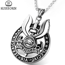 HOBBORN HIP HOP British Royal Air Force Pendant Necklaces Men Women Stainless Steel SAS Insignia Pendants WHO DEARS WINS Jewelry