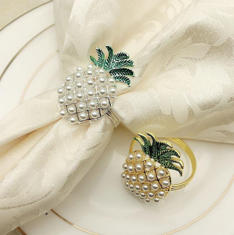 24/PCS western restaurant hôtel mis en place une table avec anneau de serviette d'ananas, serviette de perle, et bouche caillot