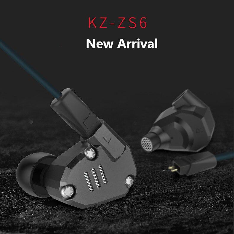D'origine KZ ZS6 Écouteurs 2DD + 2BA Hybride Écouteurs HIfi Dans L'oreille métal Casque DJ Moniteur Casque Écouteurs pour Téléphone PK ZS5 ZST