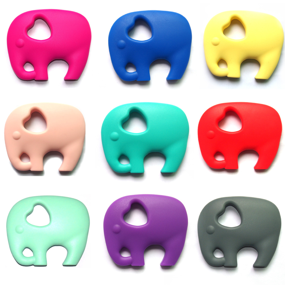 2017Silicone Teething Collares Pacifier Clips Cute Baby Teether Necklace Elephant Chew Toy Baby Teething Pendant BPA FREE 1PC