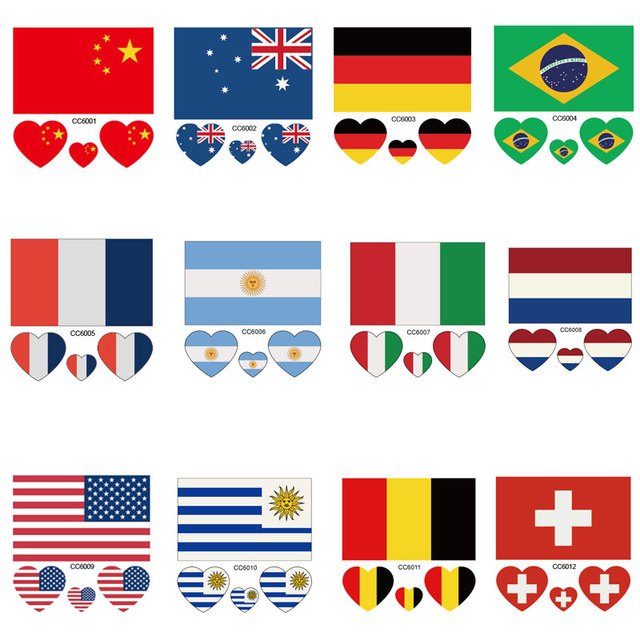 CCFlags 6X6cm Little USA American Australia Brazil Germany Flag Temporary Tattoo Sticker Body Art Water Transfer Fake Taty