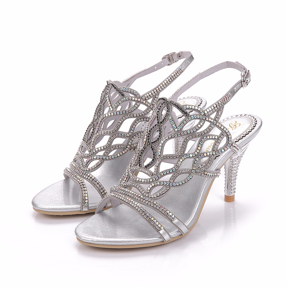 2017 Summer Sexy Girl Silver Genuine Leather Hollow Out Rhinestone High Heels Women Crystal Sandals Peep Toe Woman Wedding Shoes