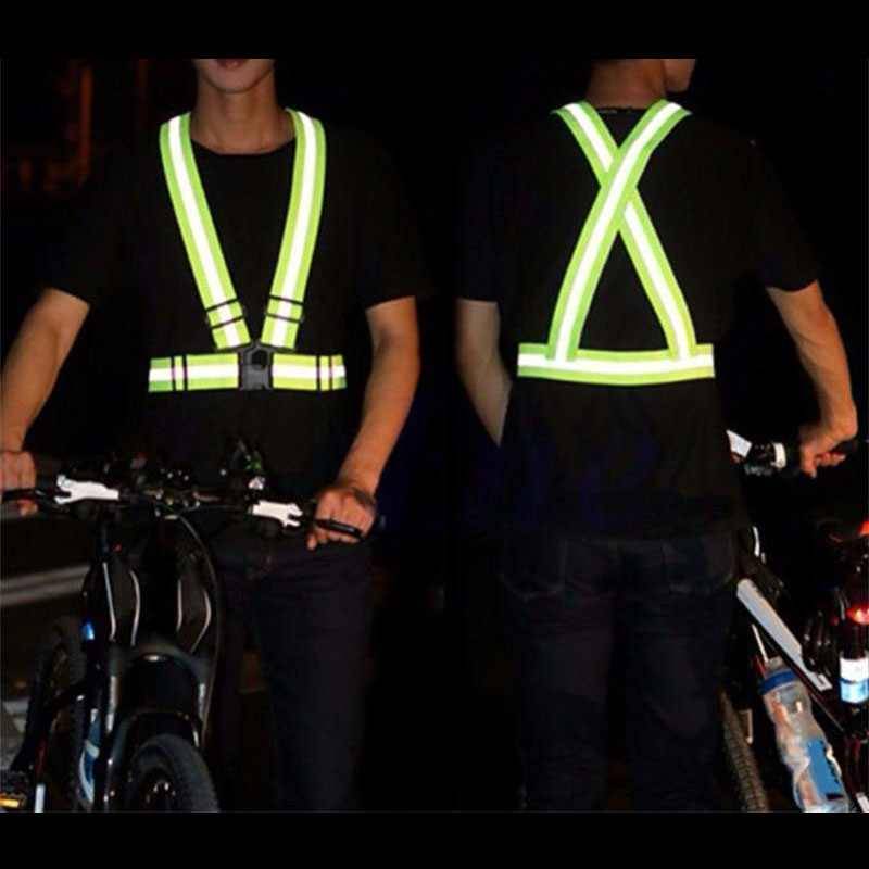 Reflective Vest Safety High Visibility Gear Stripes Jacket Night Running Walking