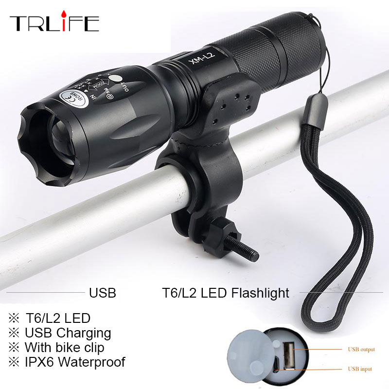 Newest USB 8000 Lumens Flashlight LED -T6 L2 Front Torch Bicycle Light lamp with