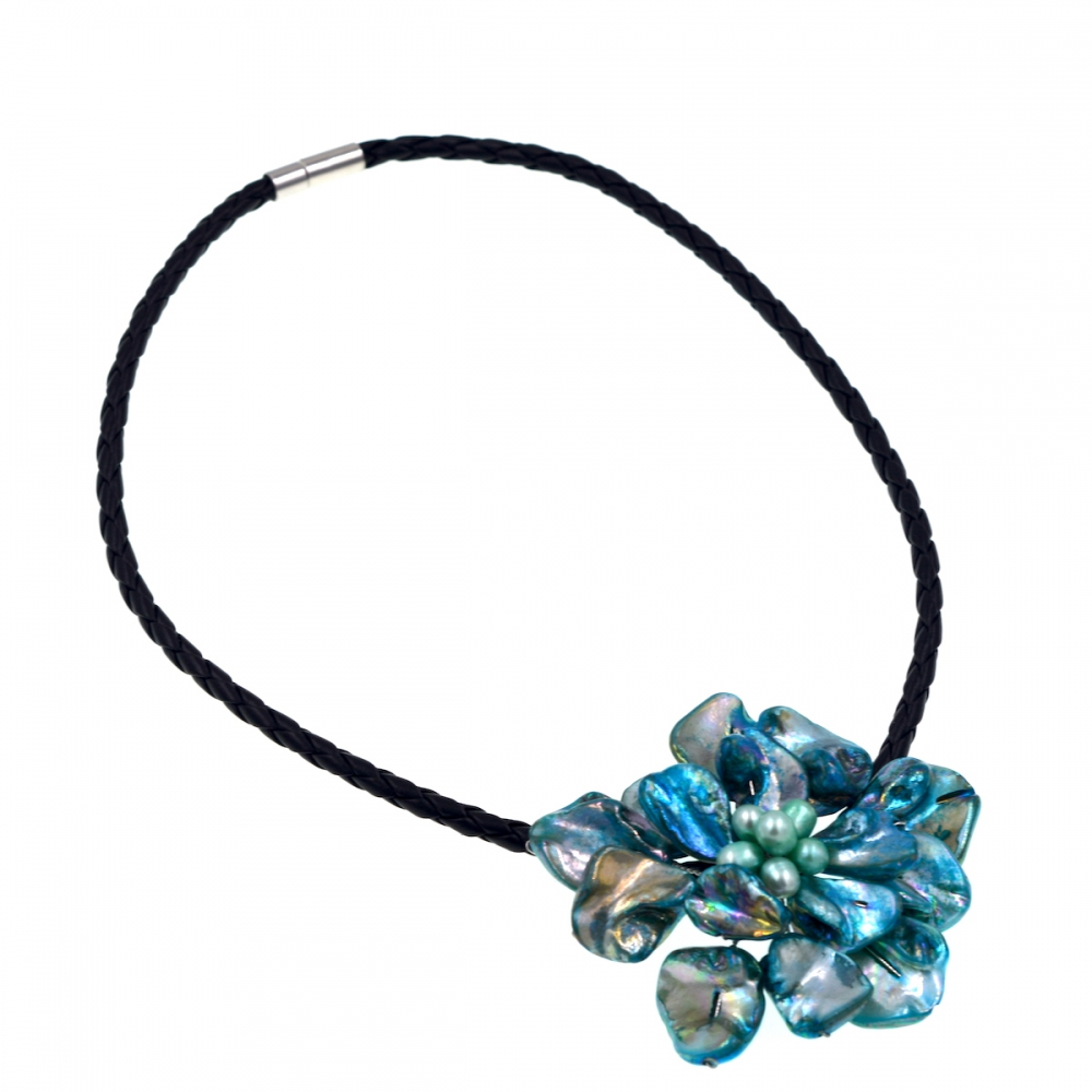 Free Shipping NEW!! Blue Pearl and Blue Turquoises Baroque Shell Flower Pendant Necklace Fashion Women Jewelry Gift