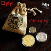 Harri Potter Cosplay Hogwarts School Magic Coin With Bag Toy Children Halloween Party Show Decoration Gift Kids Retro Brinquedos(China)