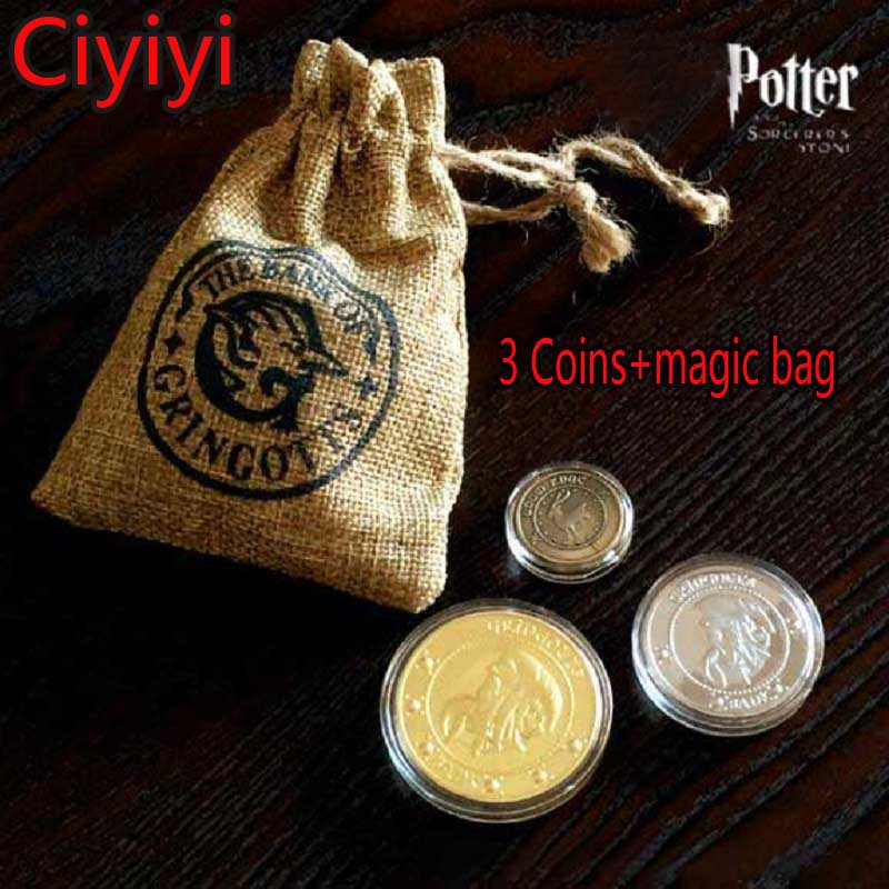 Harri Potter Cosplay Hogwarts School Magic Coin With Bag Toy Children Halloween Party Show Decoration Gift Kids Retro Brinquedos