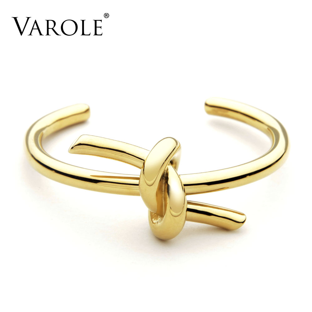 VAROLE New Knotted Rope Summer Cuff Bangle Gold Bangle Gold Stainless Steel Ապարանջան և փափուկ շորեր կանանց համար Manchette Pulseras Masculin