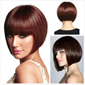 Fashion European and American Women Natural  Full Lace Wigs Short Straight Burgundy Blunt bangs Bob Synthetic Hair Style