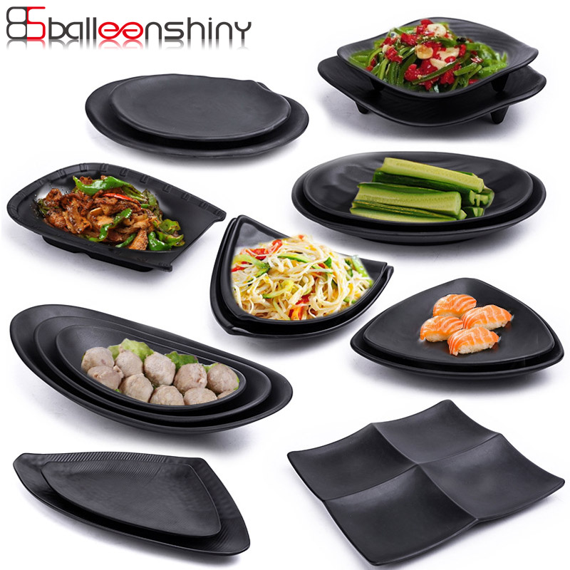 BalleenShiny Melamine Black Frost Plate Dish Creative Tableware Snack Sushi Beef Fish Barbecue Solid Plate for Restaurant Hotel