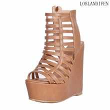 New Elegant Design Euro Style Handmade Women Ladies Wadge Heel Sandals Cut-out Peep-toe Large Size Party Prom Fashion Shoes A116