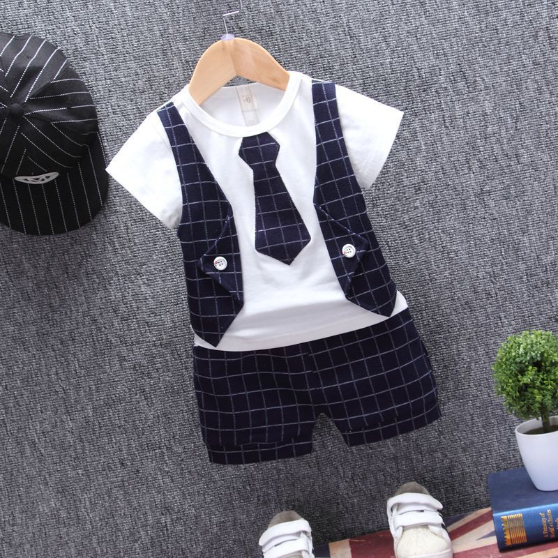 Summer Baby Boys Clothes 2019 Short Sleeve Fake 2 Piece Gentle Plaid Print Tops T-shirt+Shorts Casual Outfits Sets