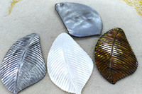 Large 100mm(4) Natural Shell Carved Leaf Freeform Charm Pendants Focal 1pcs Natural Shell bead silver brown white