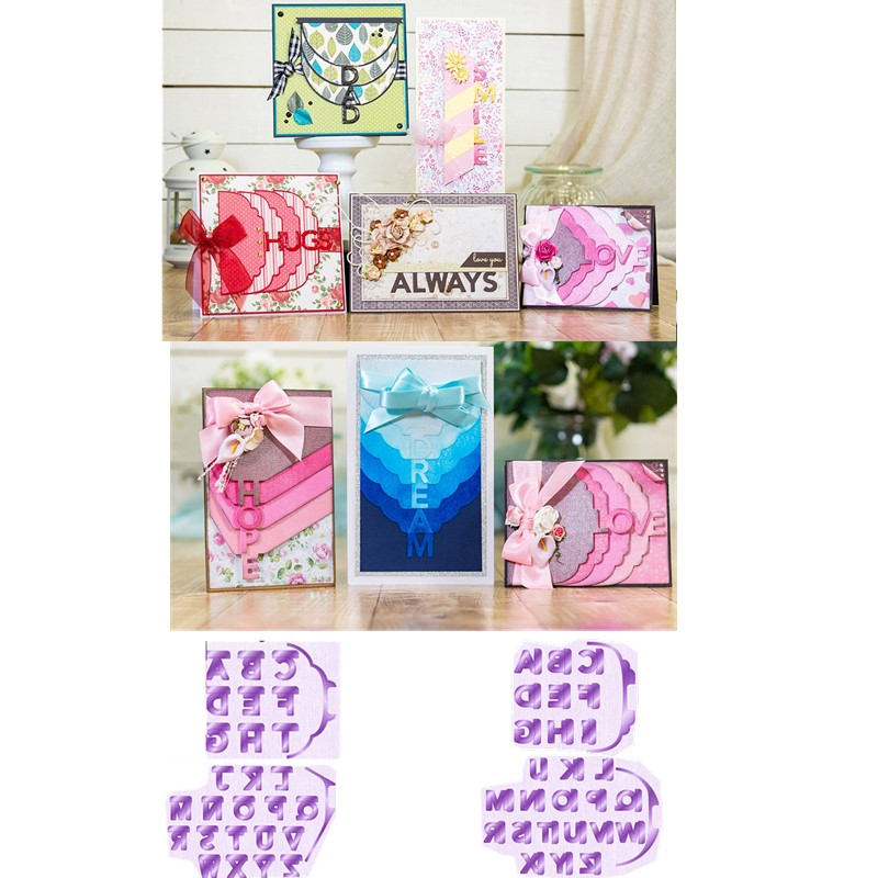 2 Styles Cascading Alphabets Metal Cutting Dies for DIY Scrapbooking Paper Cards Making Crafts Supplies 2019 New Dies Templates in Cutting Dies from Home Garden
