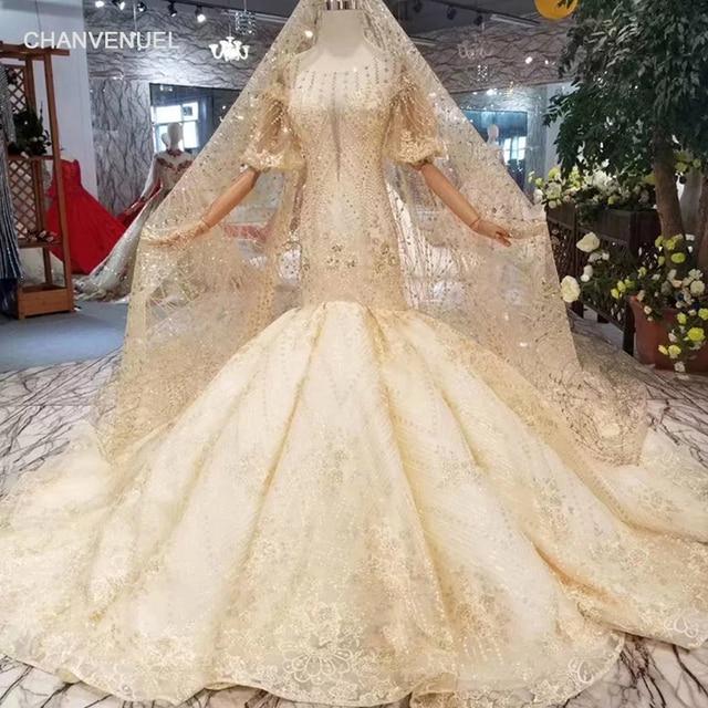LSS352 mermaid wedding dress with wedding veil o-neck lantern sleeves open  back trumpet bride gowns wedding dress golden glitter 1cd3e5792cd2