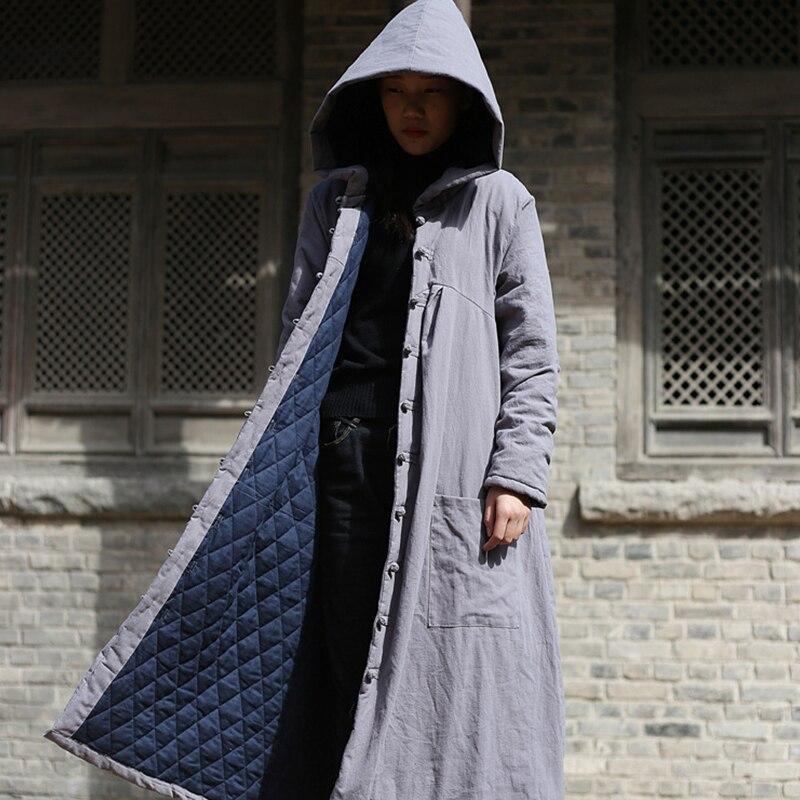 Di alta qualità retro cappotto 2018 del Nuovo di inverno di ispessimento outwear X-lungo cappotto con il cappello indumento Le manteau cotone- imbottito abrigo