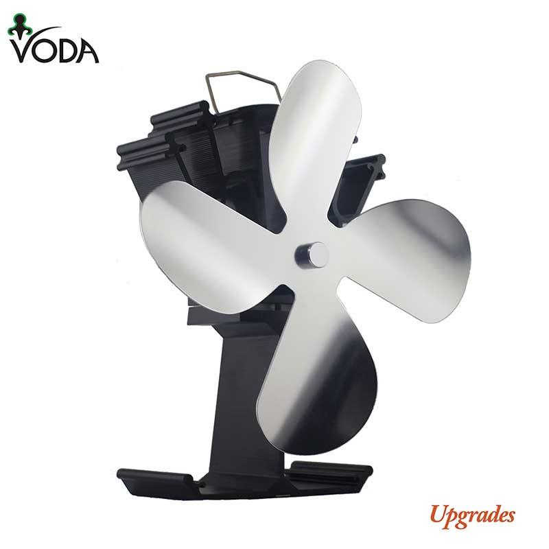 VODA Efficient 4 Blade Heat Powered Stove Fan Quiet Eco Friendly Fireplace Fan For Log/Wood Burner Indoor Heat Distribution Tool