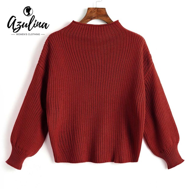 AZULINA Lantern Sleeve Plain Sweater Girls Candy Color Mock Neck Long Sleeve Oversized Ladies Tops Casual Womens Tops Pullover