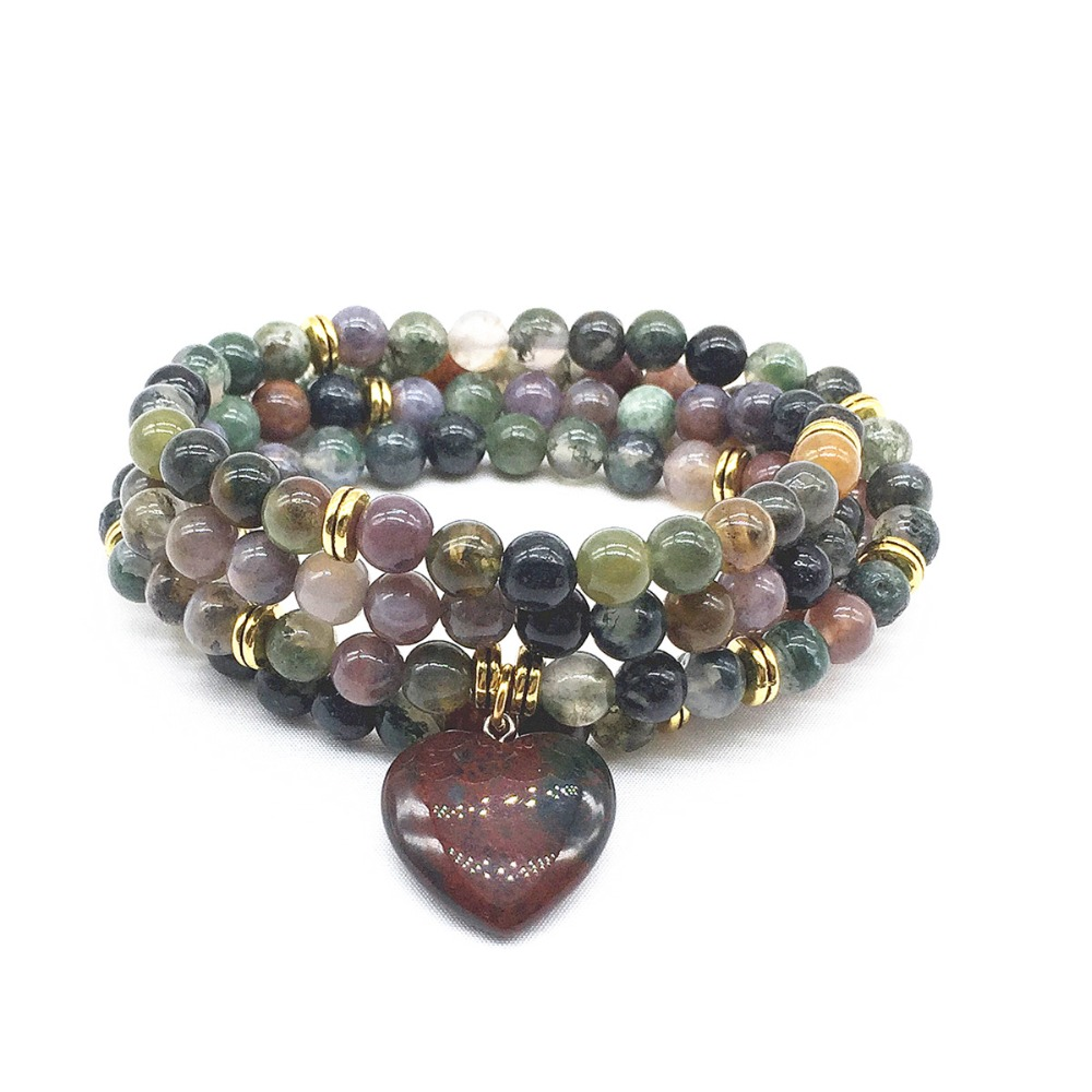 Woman Mala Bracelets Natural Indian Agates Stone Bead 100% natural Yoga Necklace Hot Sale Drop Shipping