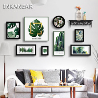 Photo Frame Set with Shelf Solid Wood Home Decor Pastoral Modern Painting Leaf Cactus Wall Decoration Board Green HF982