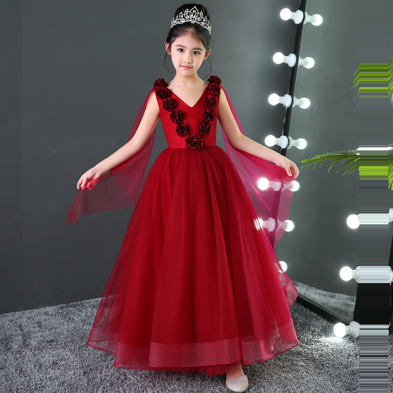Luxury Flower Girls Dress New Design Wine Red Princess Dress Sleeveless Children Ball Gown Kids Evening Party Gown A120 new arrival fashion summer girls kids sleeveless flower dress elegant sweet children girls knee length ball gown dress