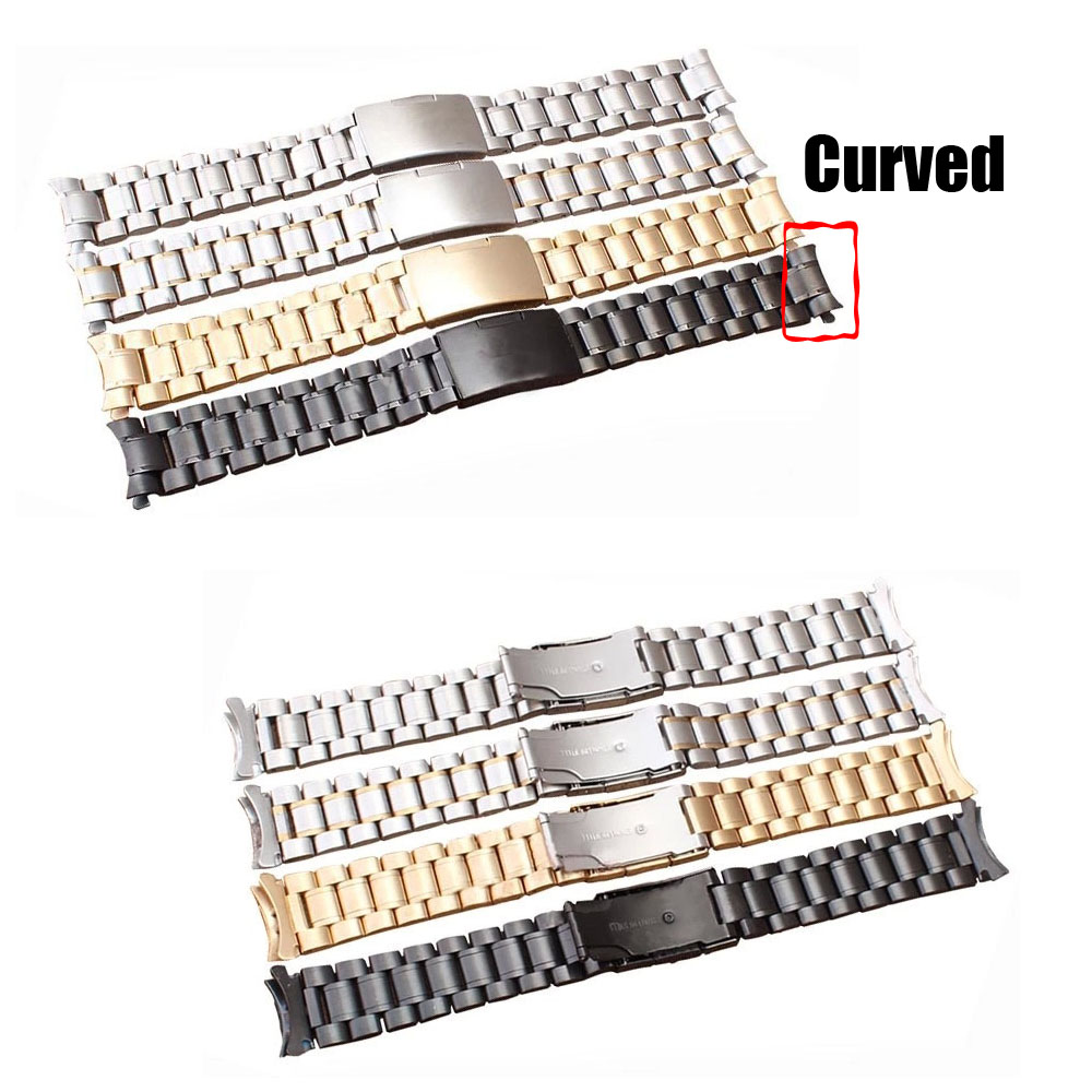 Hiqh Quality 4 Colors Unisex Stainless Steel Solid Links Watch Band Strap Curved End 18mm 20mm 22mm 24mm Bracelet Free Shipping