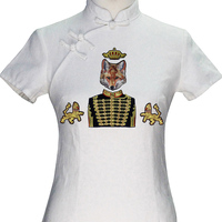TH688 Noble Kleding Borduren Goud Knop Royal Duke Vos Leeuw Gold Metallic Crown Kralen Ijzer patches Accessoires 1 Set/5 ST