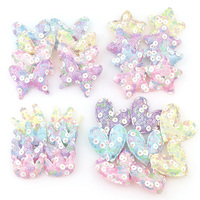 9150Pcs Round Glitter 3D Patches Crown Star Heart Pattern Cute Patch Garment Sewing Material Patches For Clothing Decorative