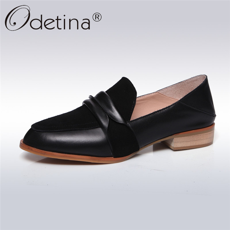 Odetina 2018 Fashion Moccasins Women Shoes Genuine Leather Penny Loafers Slip on Casual Dress Shoes Sheepskin And Cow Leather pl us size 38 47 handmade genuine leather mens shoes casual men loafers fashion breathable driving shoes slip on moccasins