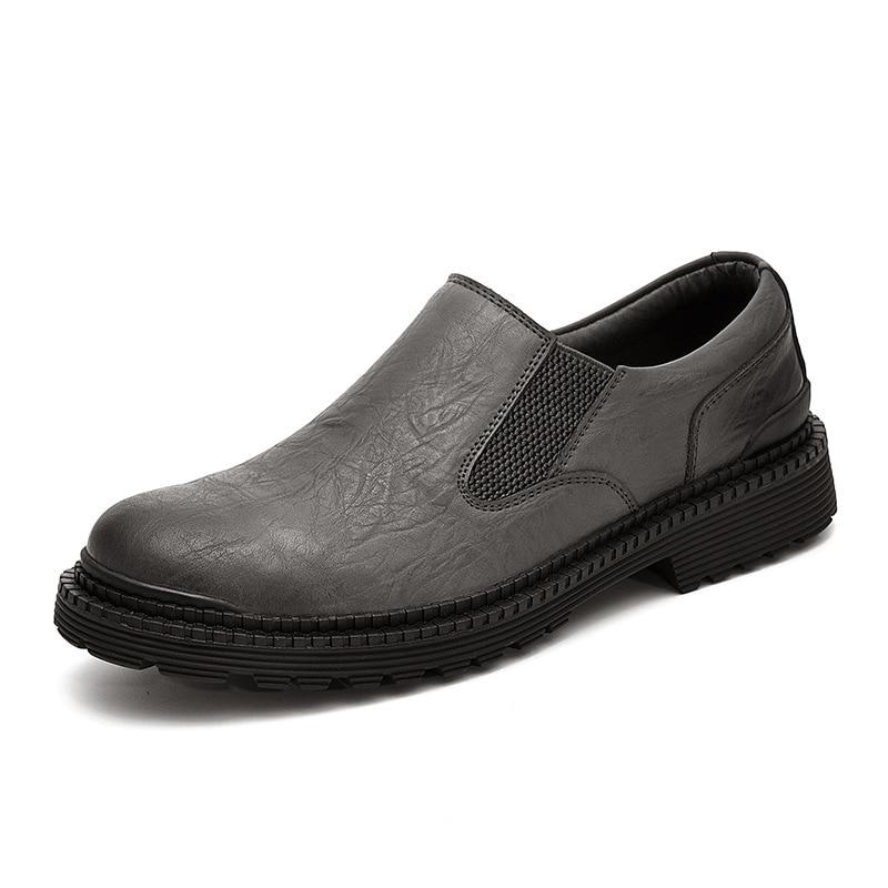 D'affaires Respirant Mocassins Slip Cuir on Décontractée Noir gray Black Chaussures gris Qffaz Hommes En Oxford Appartements Véritable UqUvO