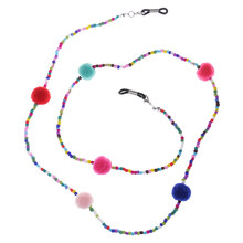 Anti Slip Colorful Beads Plush Ball Eyeglass Chain Necklace Lady Girls Reading Glasses Chain Cord Holder Neck Strap Rope(China)