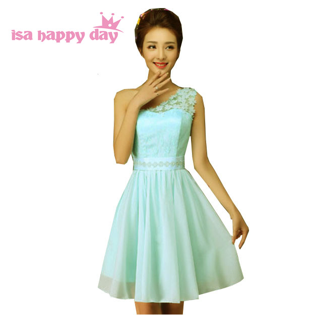 Online Shop short fitted formal chiffon light blue robe one shoulder ... e0a5a5209