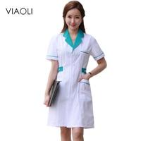 Viaoli Long Sleeve Women Medical Coat Nurse Services Uniform Medical Scrub Clothes White Lab Coat Hospital