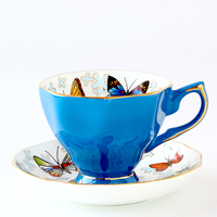 2018 Newest Creative Ceramic Coffee Cups With Saucer Tea Milk Cup Set Butterfly Drinkware Z0040