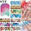 1 Hoja Nail Art Tatuajes de Etiqueta de la Cubierta Completa Etiqueta Engomada Del Clavo de Transferencia de Agua de Flor de Nieve de Navidad de Dibujos Animados Patrón de Manicura STZ405-424
