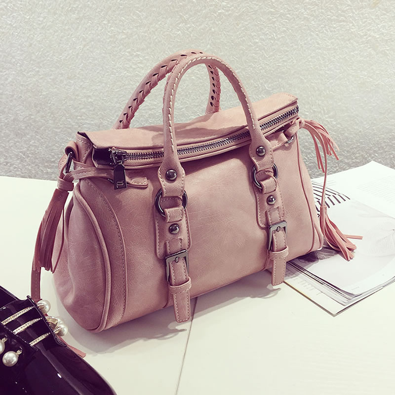 Fashion Leather like Tassel Womens Shoulder Menssenger Bag Motorcycle Cross body Casual Tote