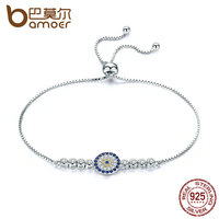 BAMOER 925 Sterling Silver Lucky Round Blue Eyes Power Tennis Bracelet Pave CZ Adjustable Link Chain